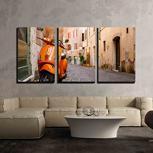 """wall26 - 3 Piece Canvas Wall Art - Old City Street with Motorbike in Rome, Italy. on Sunny Autumn or Spring Day. - Modern Home Decor Stretched and Framed Ready to Hang - 16""""x24""""x3 Panels"""