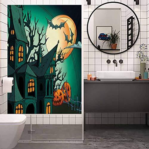 Pegatina de cristal anti-UV para ventana, diseno de murcielagos medievales de Halloween embrujados estilo de dibujos animados en Twilig, decoracion de bano para el hogar, bano, W17.7 x H78.7 pulgadas