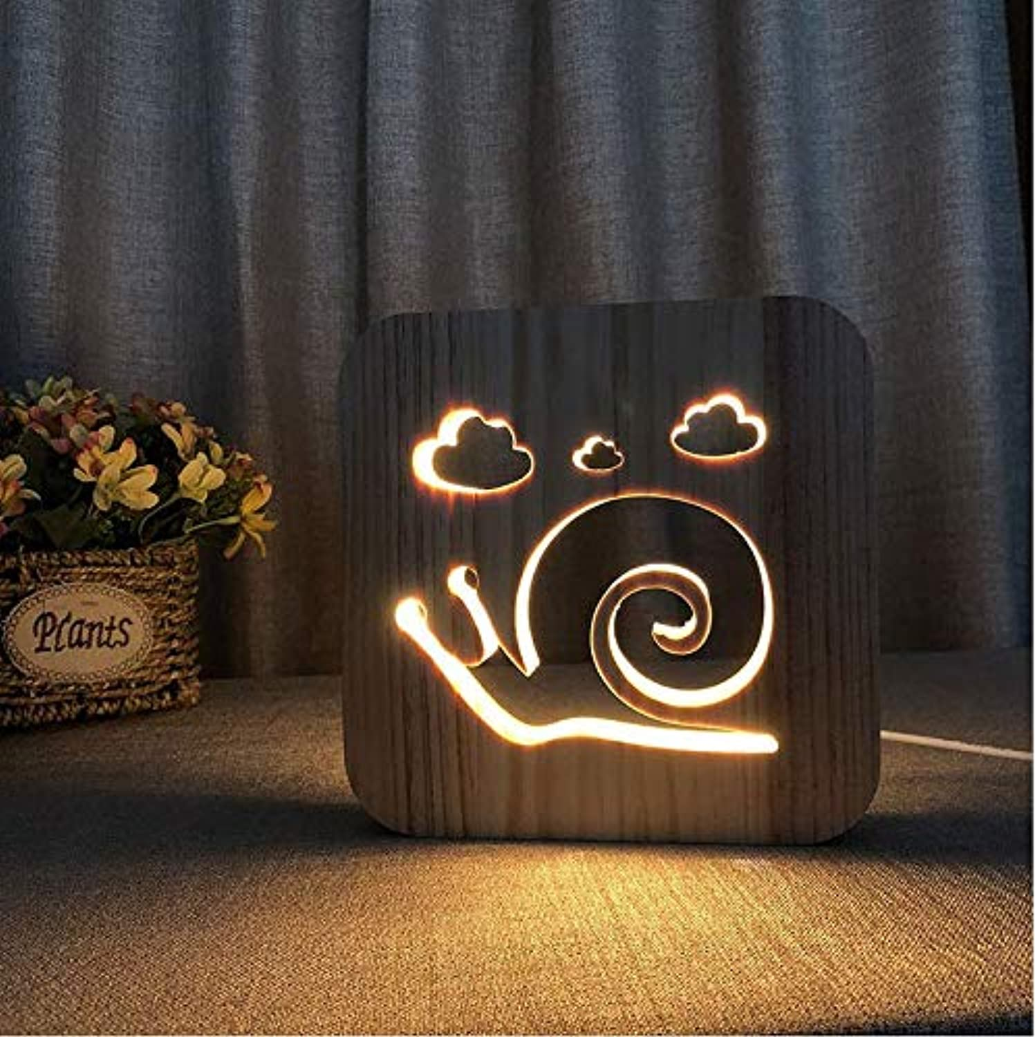 Hnfsliuhao Lamps Led Wooden Lighting Magical Snail Shadow 3D Wood Mood Lamp USB Table Desk Lamp Decorative Night Light for Bedroom Decor
