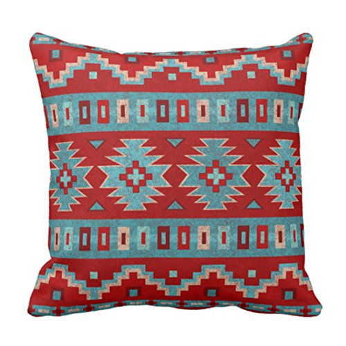 Emvency Throw Pillow Cover Red Santa Southwest Turquoise Western Decorative Pillow Case Home Decor Square 20 x 20 Inch Pillowcase