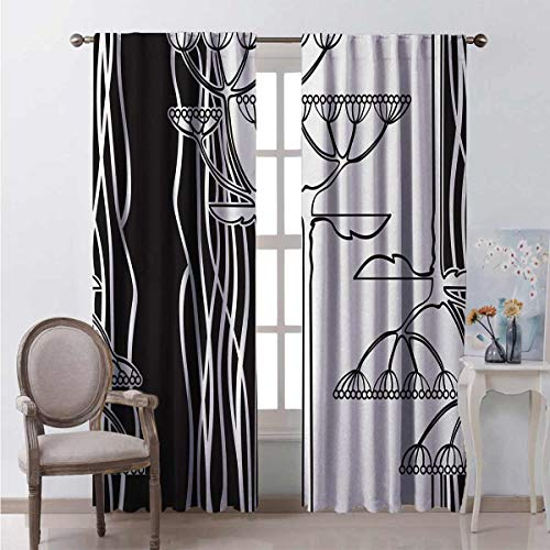 Black and White 99% Blackout Curtains Abstract Fennel Plants with Seeds Monochrome Garden Condiment Ornament for Bedroom Kindergarten Living Room W63 x L72 Inch Black White