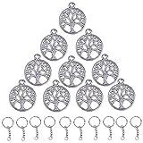Gudots 100 Stück Anhänger für den Baum Silber Vintage mit 20 Stück Schlüsselringe für selbst...