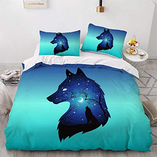 Duvet Cover 140X200Cm With Zipper Closure And 2 Pillowcases Bedding Set Print 3D Wolf Head Breathable Easy Care Polyester Easy Care For Adults Teenagers Quilt Cover