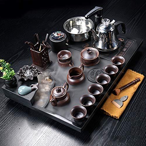 WGYDREAM Juego de Té Juego de té de Kung fu Chino con Bandeja de té de Piedra Estación de té de Piedra de Agua ebullente atomizada (Color : D)