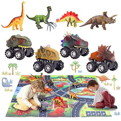 aovowog 9Piezas Dinosaurios Juguetes Niños 2 3 4 5 6 7 8 Años,Juego Educativo de Dinosaurios con Coches de Dinosaurio,Figura de Dinosaurios y Tapete de Juego de Actividades