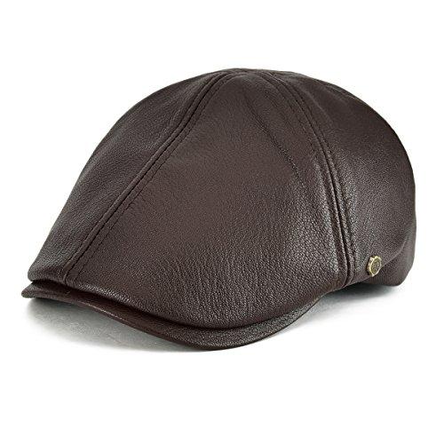VOBOOM Lambskin Leather Ivy Caps Newsboy Hat 6 Panel Cabbie Beret Hat (7 3/8-7 1/2, Light Brown)