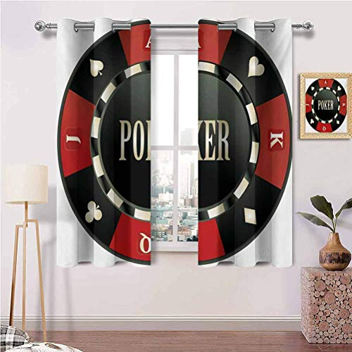 Curtains for Bedroom with Grommets Casino Chip with Poker Word in Center Rich Icon Card Suits Print Best Home Decoration Set of 2 Panels (42 x 63 Inch)