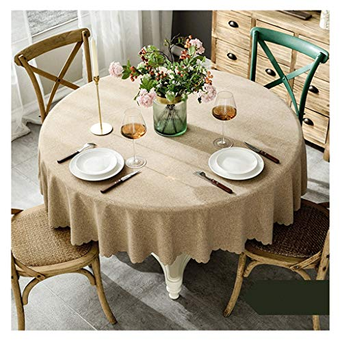 Tafelkleed, rond, eenkleurig, katoen en linnen, waterdicht, tafelkleed voor thuis, zonder tafelkleed