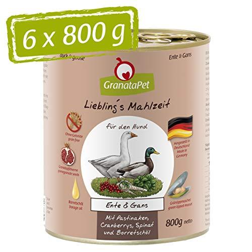 GranataPet Liebling's Mahlzeit Ente & Gans, Nassfutter für Hunde, Hundefutter ohne Getreide & ohne Zuckerzusätze, Alleinfuttermittel, 6 x 800 g
