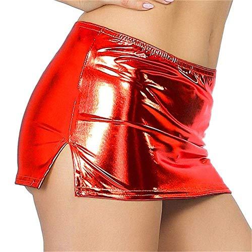 XiYou Pijamas Sexis, lencería Porno, Minifalda de látex para Mujer, Falda Corta de Cuero PU erótica Sexi, Falda Corta, Baile en Barra, Vestido de Fiesta, Disfraz Sexy