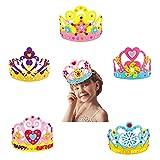 Yuemuop 6 Piezas Sombrero de Corona de Cumpleaños para Niños, Sombrero de Cumpleaños no Tejido, Tiara Princesa Creativa para Regalos de Cumpleaños Decoraciones y Artículos para Fiestas