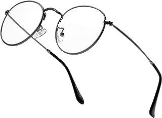 نظارات دائرية مضادة زرقاء للنساء والرجال، عدسات دائرية عتيقة بإطار معدني