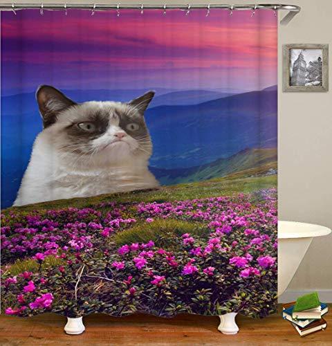 /N Dream Alternative Big Mountain Flowers Big Cat, impresión 3D HD no se desvanecerá, Cortina de Ducha Impermeable de poliéster