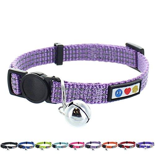 Pawtitas Collar Reflectante con Hebilla de Seguridad y Collar de Gato con Campana Desmontable Collar de Gatito Lila Collar de Gato