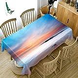 Mantel Mesa de Comedor Cocina Mar Azul Cielo Patrón Serie Paisaje Poliéster Rectangular Manteles Impermeable Lavable Resistente a la Suciedad Regalo del Día de Padre 140x180cm