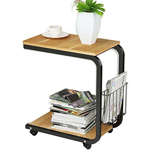 DlandHome U-förmig Beistelltisch Laptop 51 * 30 * 56cm mit Rollen Korb Computertisch Schreibtisch für DEühstück Tablett, Lesen, Bett, Sofa, Couch, Rot