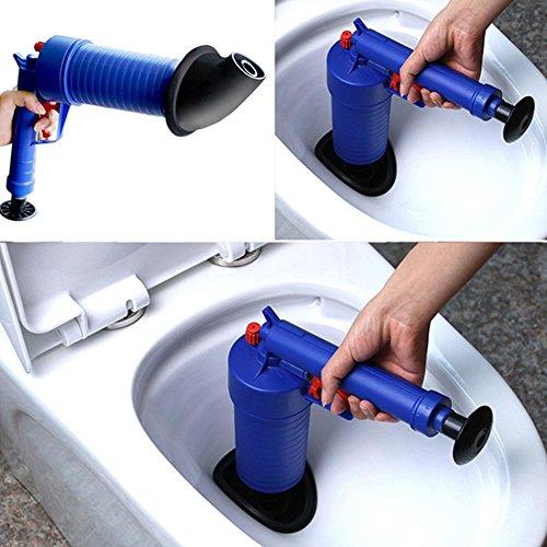 Samfox Pompa di Scarico, Pompa di Scarico della Pressione dell'Aria Tubo Strumento di Dragaggio Potenza dell'Aria Blaster Sblocca Adattatori Lavaggio WC