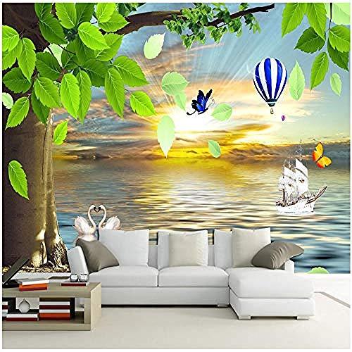 Sea Sunshine Green Leaf Butterfly for Walls Murals Wallpaper Custom 3D Wallpaper Paste Living Room The Wall for Bedroom Mural border-430cm×300cm