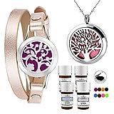 LorFain Essential Oil Bracelet and Necklace, Stainless Steel Aromatherapy Pendant Locket Bracelets...