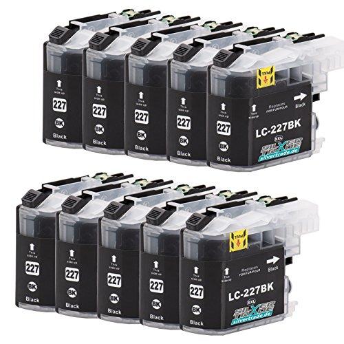10er Set Tintenpatronen kompatibel für Brother LC227XL schwarz mit Chip für Brother DCP-J4120DW / MFC-J4420DW / MFC-J4620DW / MFC-J4625DW / MFC-J4425DW / MFC-J5320DW / MFC-J5620DW / MFC-J5625DW / MFC-J5720DW