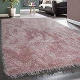 Moderner Wohnzimmer Shaggy Hochflor Teppich Soft Garn In Uni Pastell Rosa, Grösse:160x230 cm