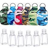 6 Pieces Empty Travel Size Bottle with Keychain Holder, Reusable Travel Size Keychain Holder with Flip Cap Refillable Travel Size Bottles 30ml for Soap, Lotion, and Liquids