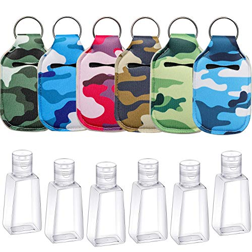 6 Pieces Empty Travel Size Bottle with Keychain Holder, Reusable Travel Size Keychain Holder with Flip Cap Refillable Travel Size Bottles 30ml for Soap, Lotion, and Liquids,Camouflage