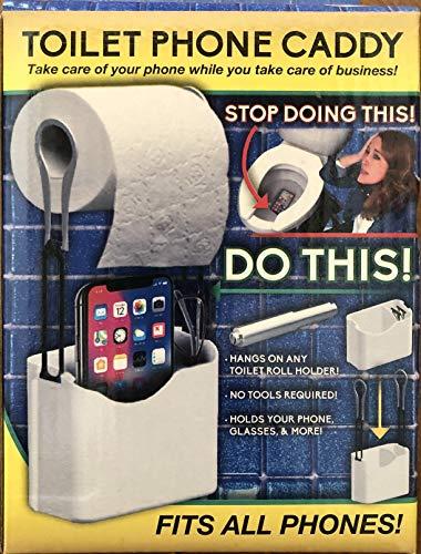 Azzure Toilet Phone Caddy Gag Gift for Bathroom