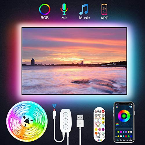 JESLED TV LED Backlight, 9.8ft USB Smart Led Strip Lights Kit for 24-60 Inch TV, Sync with Music,16 Million Colors with Controller and APP Control