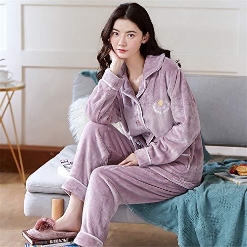 Weiche Damen Pyjamas, Dicke Bademäntel aus Korallenvlies, warme Hauskleidung für Herbst und Winter Größen A25 L