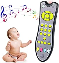 APSUAE Baby TV Remote Control Toy with Light and Sound Realistic Musical Learning Toddler Toys with English, French and Spanish Developmental Infant Gifts for Girls Boys