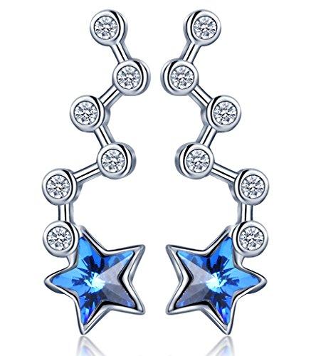 Infinito U - Pendientes para mujer, plata de ley 925, diseño envolvente de estrella con cristal austriaco, color azul océano (con bolsa de regalo)