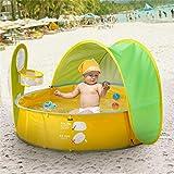 Tragbar Falten Baby Pool Ultraleicht Automatisches Pop-up Baby Strandzelt Planschbecken mit 50+ SPF UV-Schutz Sonnenschutz Baldachin für Kleinkinder 0-3 Jahre
