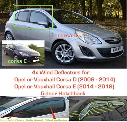 Set mit 4 Windabweisern für Opel Corsa D & E 5-Türer Schrägheck 2006 2007 2008 2009 2010 2011 2012 2013 2014 2015 2016 2017 2018 2019 Seitenfenster Regenschutz Sonnenschutz Visier Acrylglas