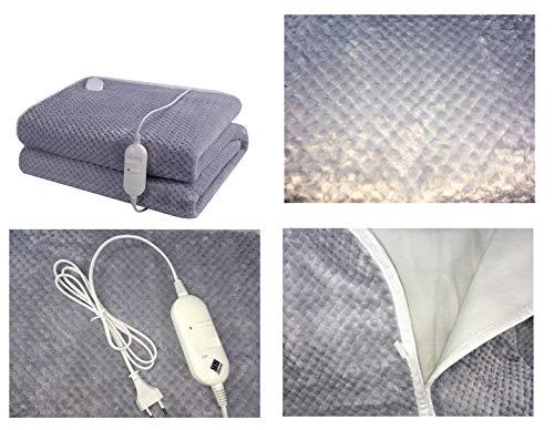 Elektrische deken XXL afmetingen: 150 x 80 cm. Kleur: grijs.