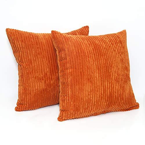 A Pair of 18in x 18in Super Soft Chenille Stripe Cushion Covers in Burnt Orange