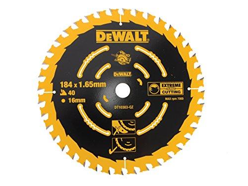 DEWALT - Lame de Scie Circulaire Portative - DT10303-QZ - Lame Extreme Cutting pour Scies Circulaires - Lame Ø184mm - Taille de l'Alésage 16mm - Épaisseur 1,65mm - 40 Dents