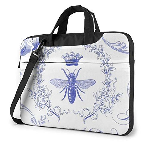 15.6 inch Laptop Shoulder Briefcase Messenger Blue Graphic Modern Vintage French Queen Bee Crown Tablet Bussiness Carrying Handbag Case Sleeve