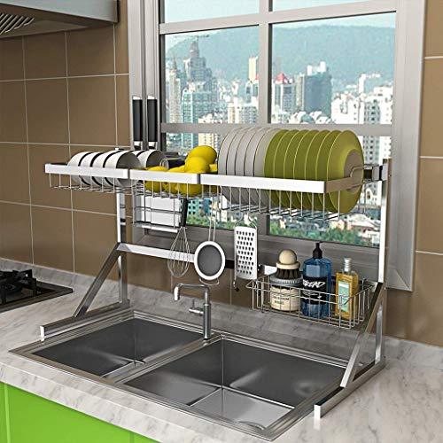 RR & LL boven de wastafel Dish wasrek, roestvrijstalen afdruipvlak displayplank, werkblad Space Saver stand servies organizer met gebruiksvoorwerpen houder (grootte: dubbele spoelbak 84cm)