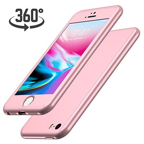 Luckydeer iPhone SE Hülle mit [1x Panzerglas Schutzfolie] (Rose Gold 4,0 Zoll)