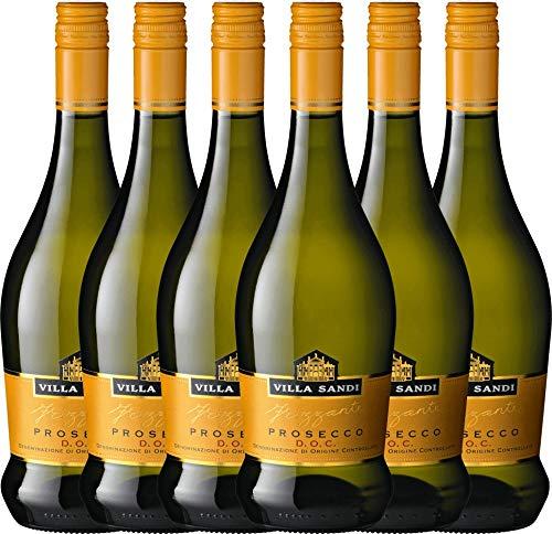 VINELLO 6er Weinpaket Perlwein - Prosecco Frizzante DOC - Villa Sandi mit Weinausgießer | fein-prickelnder Prosecco | italienischer Perlwein aus Venetien | 6 x 0,75 Liter
