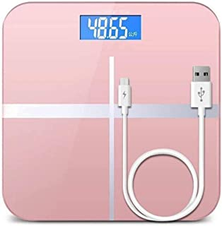 CS-YZC Intelligent Electronic Scales Household Floor Skid Scale Digital Temperature Bathroom Scale USB Charging Scale durable (Color : Rose gold) scales for body weight (Color : Rose Gold)