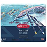 Derwent Inktense Pencils, 4mm Core, Metal Tin, Assorted Colors, 24 Count (0700929)