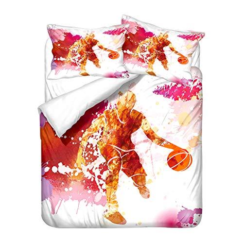 HNHDDZ 3D Basketball Bedding set Blue Orange Pink Black White Red Duvet Cover and Pillowcase Microfiber Kids Boys (Style 4, Super King 220x260 cm)