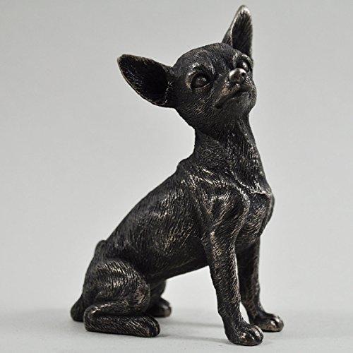 Fiesta Studios Chihuahua Small Cold Cast Bronze Statue Sculpture Pets Gift Idea H9.5m