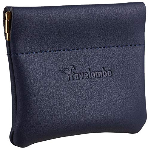 Travelambo Leather Squeeze Coin Purse Pouch Change Holder For Men & Women (Access Blue Navy)