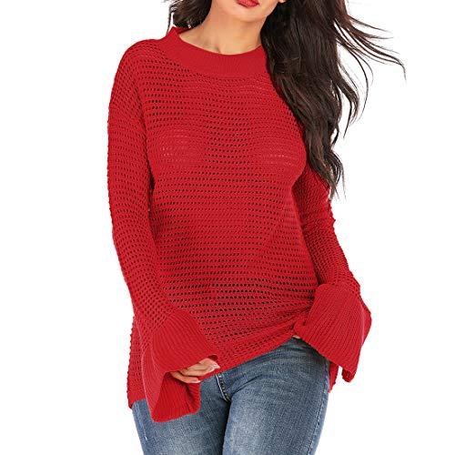 QJSZ Damen Strickpullover Lange Ärmel V-Ausschnitt Einfarbig Casual Mode elegant Bequemer Frühling, Sommer und Herbst neu Sweatshirt Sexy Aushöhlen Stil Design XL