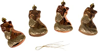 Clever Creations Christmas Fox Ornament Set Beautiful Gold and Copper Pattern | 4 Pack | Festive Holiday Décor | Classic Design | Light Weight Shatter Resistant | Hangers Included | 60mm