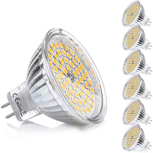 Yafido 6er GU5.3 MR16 LED Warmweiß 12V 5W MR 16 Ersatz für 35W Halogen Lampen GU 5.3 3000K 400 Lumen Birne Leuchtmittel 120°Abstrahwinkel Spot Nicht Dimmbar Ø50x 48 mm