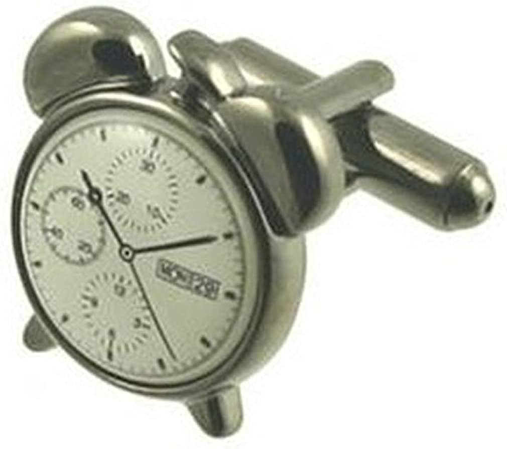 Select Gifts Cuff Links Alarm Time Cufflinks~Gun Clock Eng Sale At the price Special Price Metal